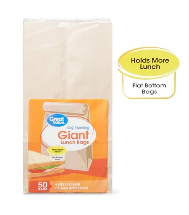 Pack of 2 Great Value Giant Lunch Bags 50 Count Brown Flat-bottom